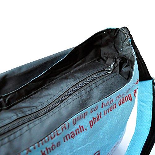 Fantastik - Bolsa reciclada bandolera. Comercio justo color : Peces blancos Azul