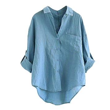 Camisas Mujer,Modaworld Blusa Suelta de Manga Larga para Mujer Blusa con botón