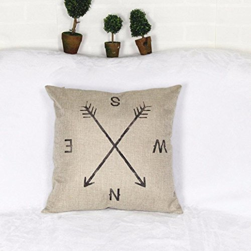 "Clearance!!!Compass Linen Washable Pillow Case Cushion Cover Home Decor 18"" x 18"" (White)"