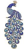 Gyn&Joy Gold-Tone Art Gorgeous Peacock Austrian Crystal Rhinestone Brooch Pins 5 Inch BZ055 (Blue)