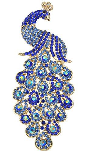 (Gyn&Joy Gold-Tone Art Gorgeous Peacock Austrian Crystal Rhinestone Brooch Pins 5 Inch BZ055 (Blue))