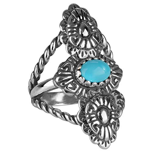 (American West Sterling Silver Blue Turquoise Gemstone Concho Rope Ring Size 08)