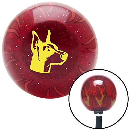 - Yellow Great Dane Red Flame Metal Flake Shift Knob with M16 x 1.5 Insert mg tc