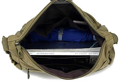 Männer Vintage-Leinwand Schulter Ipad Messenger Tote Side College Tasche Brown,A-29cm*13.5cm*24cm