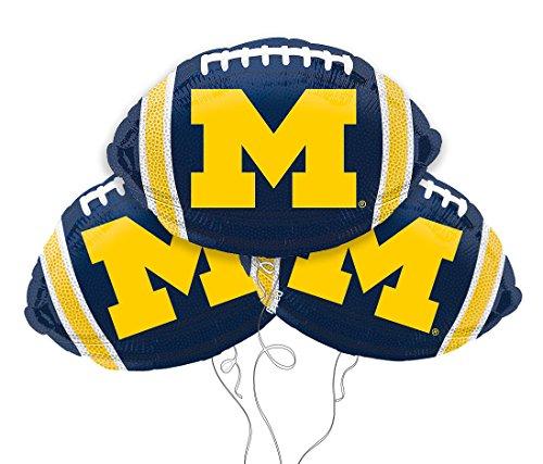 University of Michigan Logo College Football Mylar Balloon 3 Pack