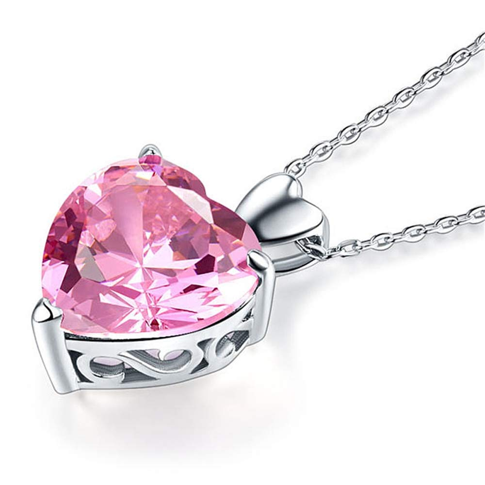 GLEENECKLAC Peacock Star 925 Sterling Silver Bridesmaid Heart Pendant Necklace Carat Pink Bridal Jewelry