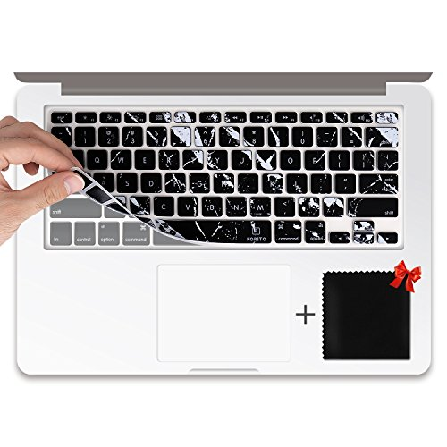 Keyboard Cover Compatible MacBook Air 13, MacBook Pro 13 15(2012-2015 Model), iMac Wireless Keyboard (Marble Black)