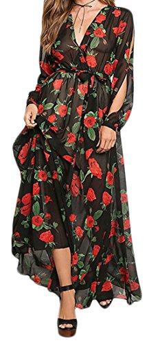Cromoncent Femmes Boho Print V-cou Longue Robe De Plage Maxi Swing Manches Noir