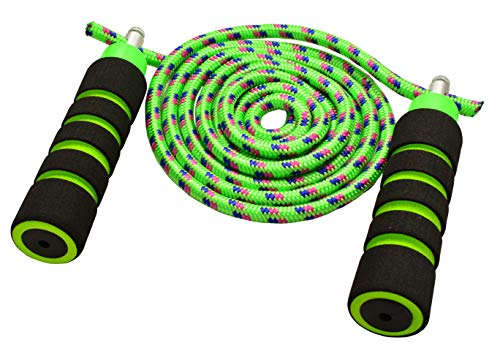 Anna's Rainbow Rope Kids Jump Rope Durable Child Friendly Skipping Rope - Exercise Toy for Playground with Lightweight Foam Handles and Vibrant Colors - 7ft Green