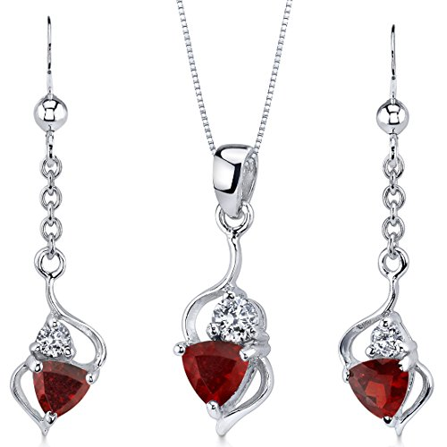 (Classy 2.25 carats Trillion Cut Sterling Silver Rhodium Nickel Finish Garnet Pendant Earrings Set)