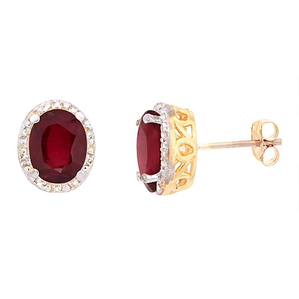 10K Yellow Gold Diamond Halo Enhanced Genuine Ruby Stud Earrings Oval 7x5 mm