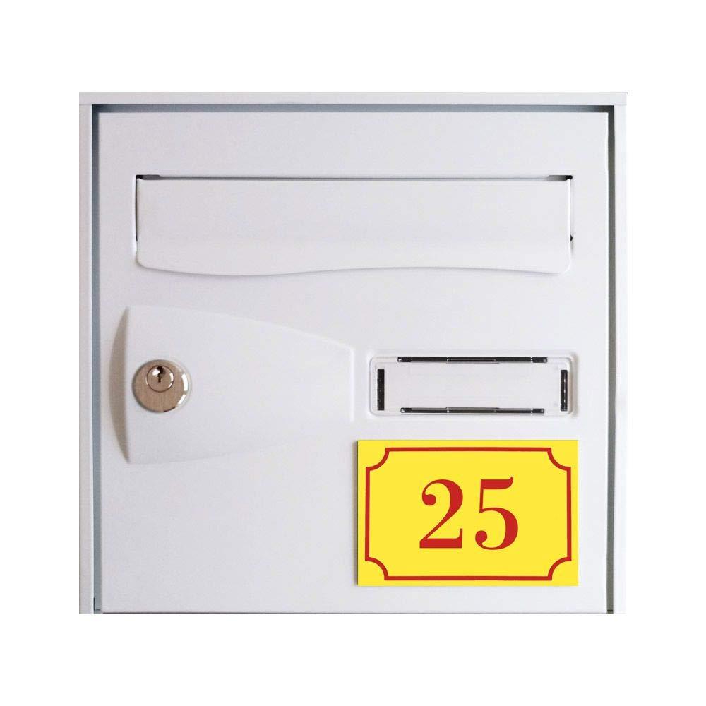 Signal/étique ext/érieure Num/éro de maison//rue grav/é et personnalis/é couleur orange chiffres blancs