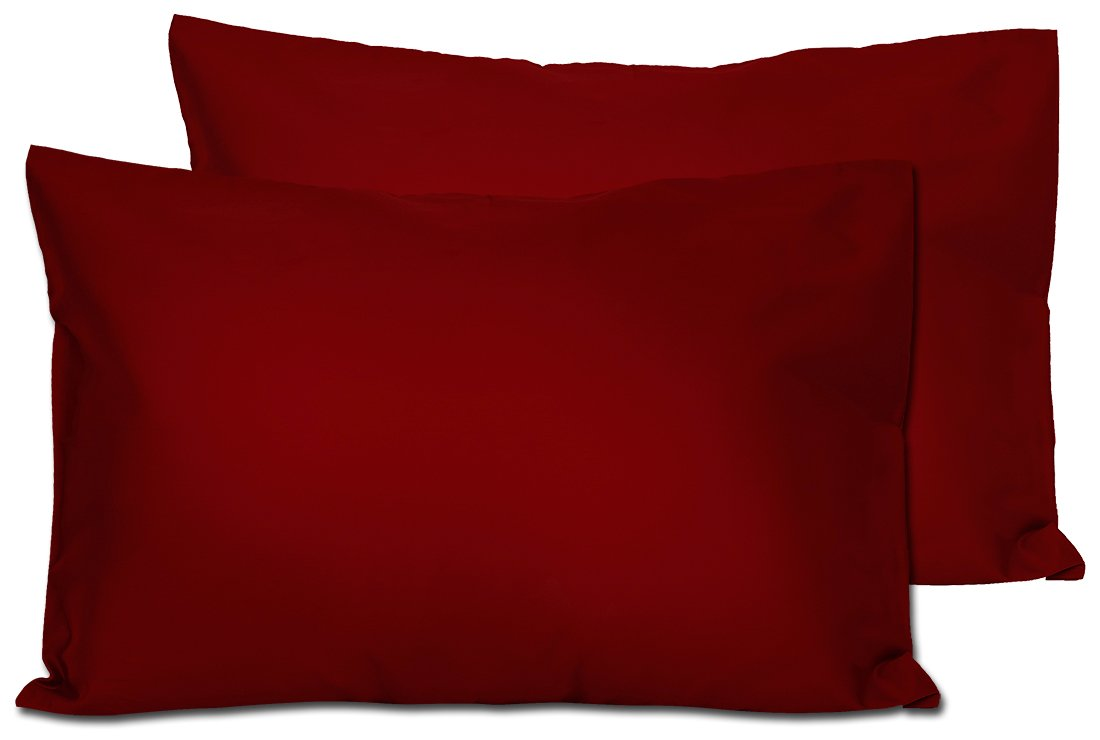 2 Maroon Toddler Pillowcases - Envelope Style - For Pillows Sized 13x18 and 14x19 - 100% Cotton With Percale Weave - Machine Washable - 2 Pack