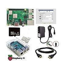 SaharaMicro- Raspberry Pi 3 B+ Complete Starter Kit Including Latest Pi 3 Model B+ Board, 16GB Micro SD Card Preloaded Noobs, 5V 2.5A Power Supply, Clear Case, HDMI Cable, 3pc Heatsinks