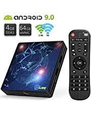 TVLIVE Android TV Box 9.0 4GB RAM+64GB ROM Boitier Android TV RK3318 Quad Core 64 bit Cortex-A53 Bluetooth 4.1 LAN 100M Dual-WiFi 2.4GHz/5GHz USB 3.0, Supporte 4K 60Hz Full HD / 3D / H.265 4K TV Box