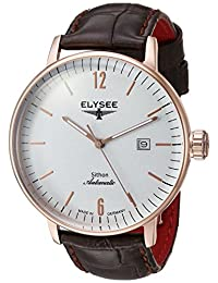 ELYSEE Men's Sithon 42mm Brown Leather Band Rose Gold Plated Case Automatic Grey Dial Analog Watch 13282