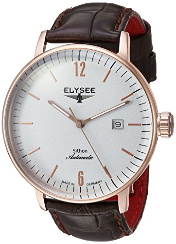ELYSEE Men's 'Classic-Edition' Automatic Gold and Leather Casual Watch, Color:Brown (Model: 13282)