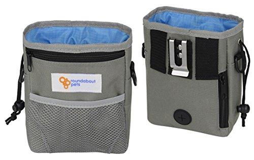 Grape Carrier (Roundabout Pets Dog Treat Bag - Ideal pouch for puppy training and walks. Built-in Poop Bag Dispenser. Large zip pockets for treats, toys, valuables)