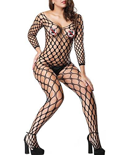 LemonGirl Fishnet Bodystockings Lingerie for Women Open Crotchless Bodysuit Stockings Free Size