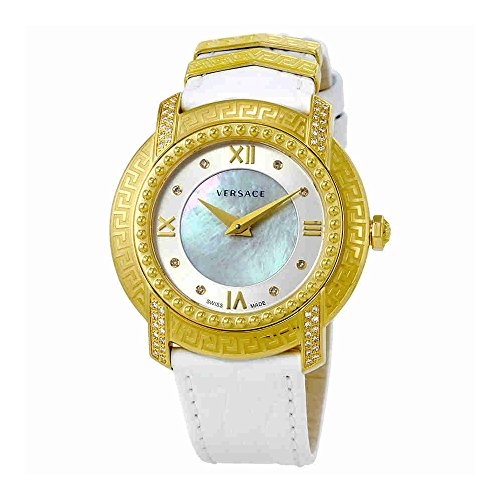 Versace Women's 'DV-25' Swiss Quartz Stainless Steel and Leather Casual Watch, Color:White (Model: VAM060016)