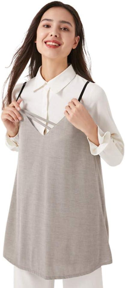 LUOSFUH Protección EMF Camiseta sin Mangas de Maternidad Fem Mujer Ropa de Fibra Plateada Escudo antirradiación Protección contra el Embarazo Bebé Verano: Amazon.es: Ropa y accesorios