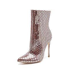 Women's High Heel Metallic Short Boots