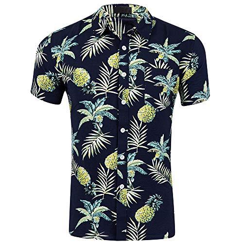 (CATERTO Men's Button Down Short Sleeve Pineapple Casual Tropical Hawaiian Shirt Navy S)
