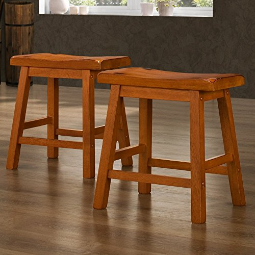 Weston Home 18 in. Saddle Back Stool - Oak- Set of 2 (Stools Sale For Bar And Bar)