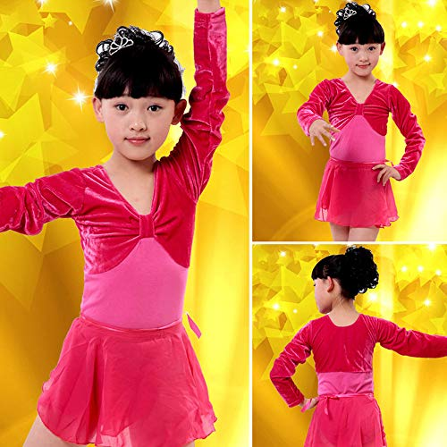 Dance Dresses XFentech Dancwear Dress Latin Girl Children's Gymnastics Competition Children's sleeve Red Long Orwz5Oq