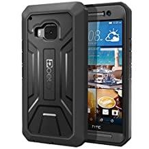HTC One M9 Case - Poetic [Revolution Series] - [Heavy Duty] [Dual Layer] Complete Protection Hybrid Case with Built-In Screen Protector for HTC One M9 (2015) Black (3-Year Manufacturer Warranty From Poetic)