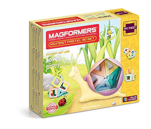 Piece Set 30 Construction (Magformers My First Pastel (30 Piece) Toy of the year Construction  finalist 2018 Magnetic    Building      Blocks, Educational  Magnetic    Tiles Kit , Magnetic    Construction  STEM toddler Toy Set)