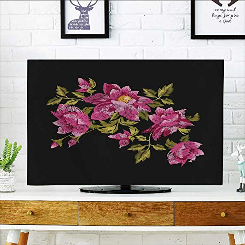 Bush Traditional Tv Stand - Philiphome Cord Cover for Wall Mounted tv rosevector Traditional Folk gen Daisy Bush Flowers Ornament Cover Mounted tv W30 x H50 INCH/TV 52