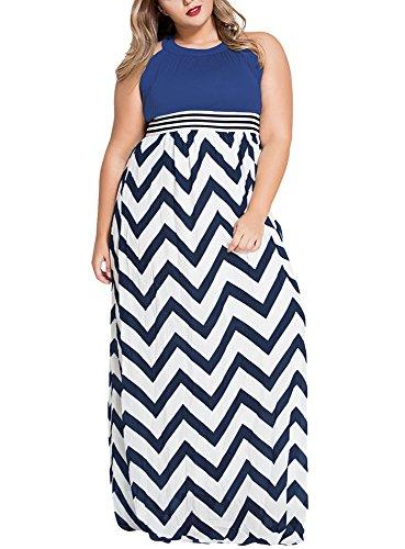 Gloria&Sarah Women's Wavy Chevron Print Striped Plus Size Maxi Dress,Blue,XXL