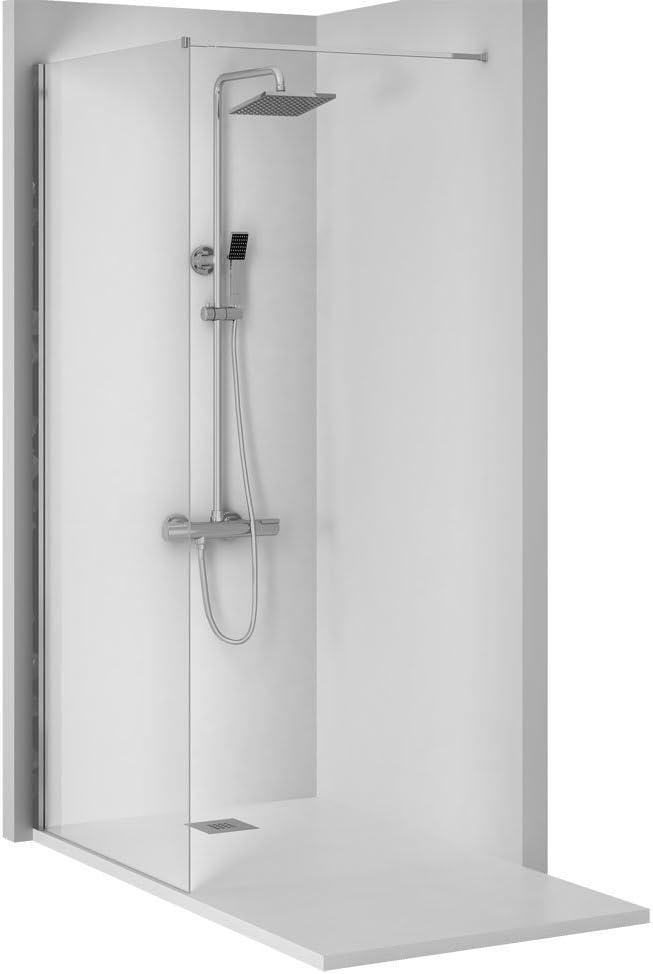 Conjunto de 3 PIEZAS: Plato de ducha de resina + Panel fijo de ...