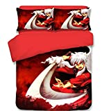 School Student Dorm Bedding Set, Inuyasha Japanese Anime Style Polyester Duvet Cover Set, No Comforter Queen