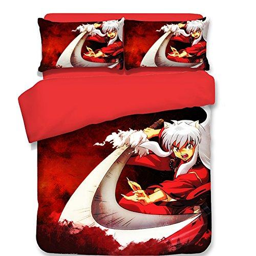 (School Student Dorm Bedding Set, Inuyasha Japanese Anime Style Polyester Duvet Cover Set, No Comforter Twin)