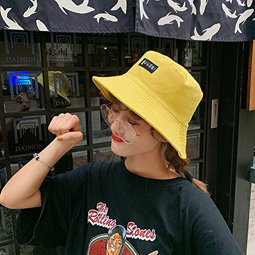 Mhwlai Fisherman Hat, Ladies Wild Hat Cartoon Cute Double-Sided Basin Cap Travel Outdoor Art Sunscreen Sunshade Hat,2