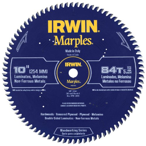 - Irwin Tools  1807381 Marples Laser Cut 10-Inch 84-Tooth Triple Chip Grind Circular Saw Blade