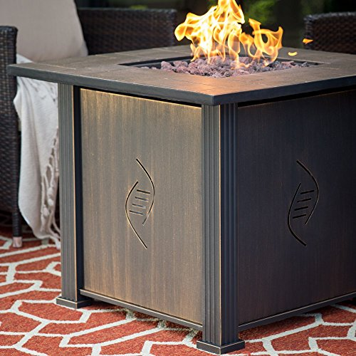 Fire Pit Table Propane Gas- New Enviro-Stone Faux-Stone Surface Offers Room For Plates, Glasses- Great For All Weather Conditions Built For Long Life with Solid Steel Construction- Easy Ignite Button Review