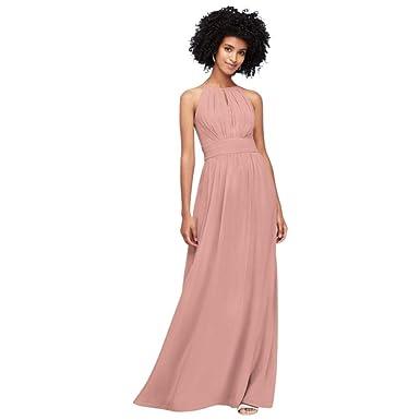 4437bc1f956 David s Bridal High-Neck Chiffon Bridesmaid Dress with Keyhole Style  F19953