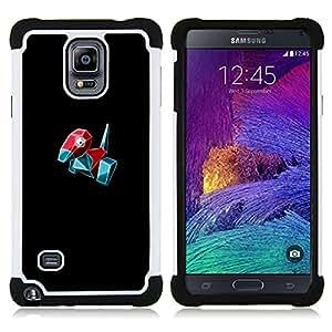 """Samsung Galaxy Note 4 IV / SM-N910 - 3 en 1 impreso colorido de Altas Prestaciones PC Funda chaqueta Negro cubierta gel silicona suave (Meter Monster Red Bird"""")"""