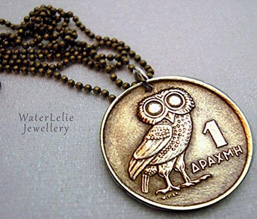 Owl Coin Necklace. Vintage OWL of Athena COIN NECKLACE. 1973 Greek coin. phoenix necklac. Athena owl. mens ()