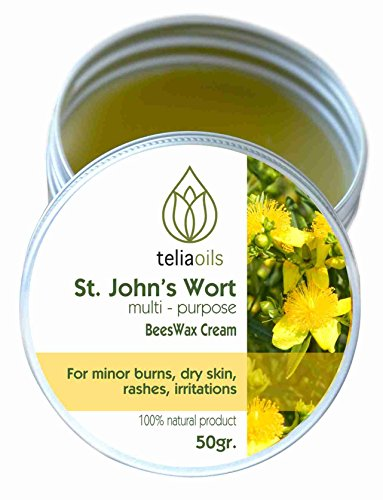 Organic St John's Wort Beeswax Dry Skin Cream- Deep Cleansing Herbal Salve Treatment For Dermatitis, Rashes, Dry Hands, Hemorrhoids, Scars- All Natural Organic Moisturizing Multipurpose Ointment- 50gr