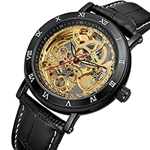 Bestn Men's Steampunk Skeleton Mechanical Self-Wind Wristwatch Black PU Leather Watch