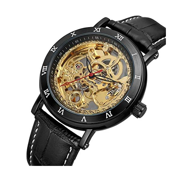 Bestn Men's Steampunk Skeleton Mechanical Self-Wind Wristwatch Black PU Leather Watch 3