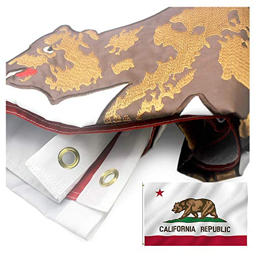 Nylon California State Flag - VSVO California Republic Bear State Flag 3 x 5 ft.- Durable 300D Nylon with Embroidered for Outside- Sewn Stripes - Brass Grommets - UV Protection-Californian CA State Flags