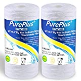PUREPLUS 5 Micron 4.5' x 10' Whole House Big Blue Sediment String Water Filter Replacement Cartridge Compatible with 84637, WPX5BB97P, PC10, 355214-45, 355215-45, WP10BB97P, WP5BB97P, 2-Pack