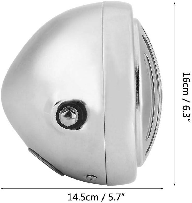 lentille en Verre Phare Phare Grill Style Universel pour Cafe Racer 6,3 Pouces Moto Vintage en Aluminium Yctze Moto Phare Coque Noire en Verre Blanc