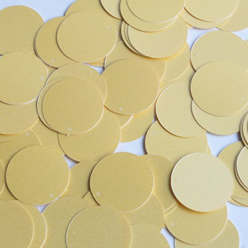 Round Sequin 24mm Custard Yellow Opaque Satin Pearl Loose Couture ()