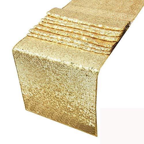 HOSL Pack of 6 Gold Glitter Sequin Table Runners 12 x 108 Inches For Wedding Banquet Party Decoration